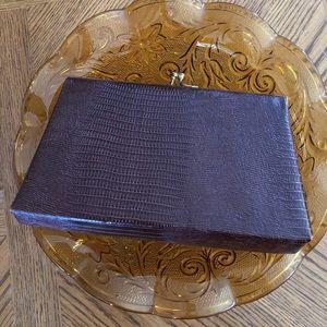 Vintage Brown Tegu Lizard Leather Clutch
